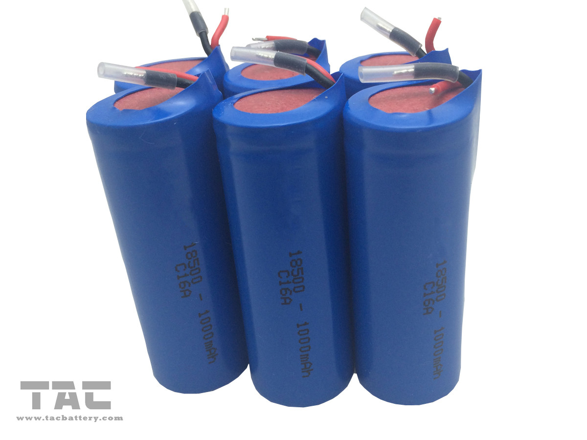 ICR18500  3.7V 1000mAh Lithium Ion Cylindrical Battery for Portable Flashlight