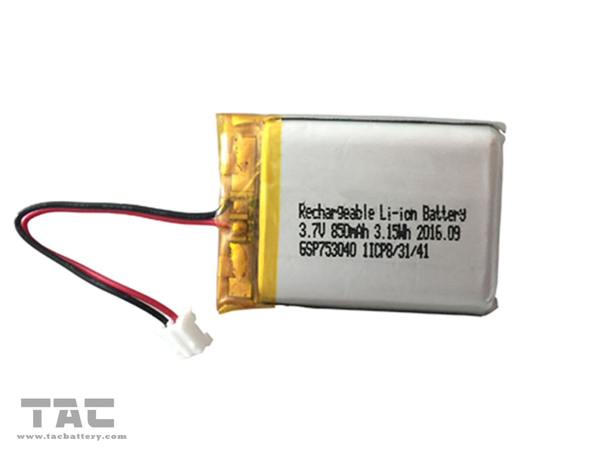 Rechargeable Polymer Lithium Ion Batteries GSP753040 3.7V 850mAh  Long Life