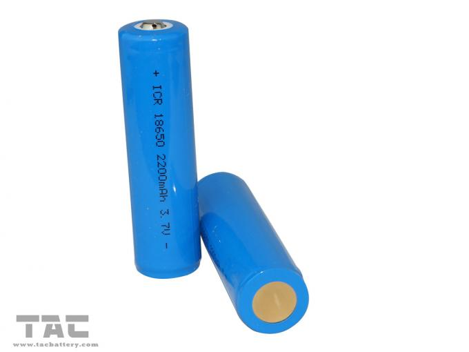 LIR18650 3.7v Lithium Ion Cylindrical Battery 2200mAh with High Energy Density for LED Light