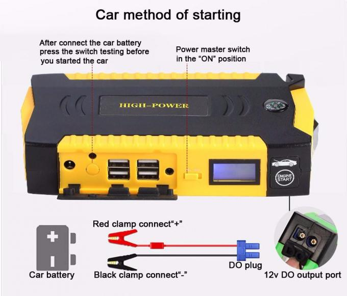 12000mAh Waterproof Portable Car Jump Starter Lithium Polymer Battery 12V