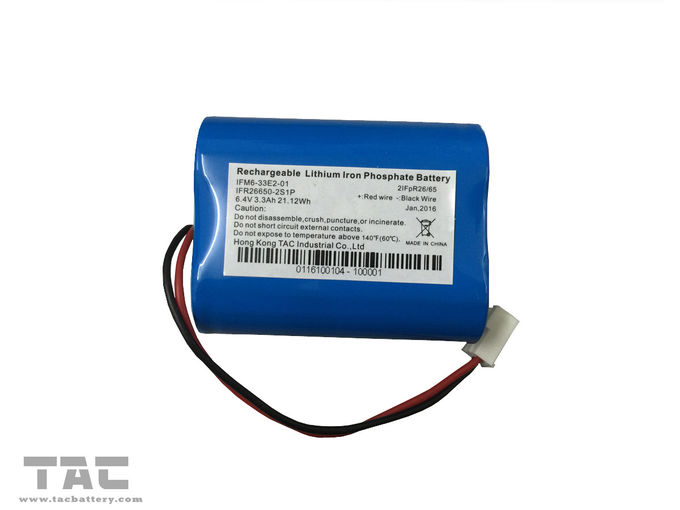 Rechargeable IFR26650 3.3Ah 2S1P 6.4V / 3.2V LiFePO4 Battery With BMS